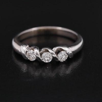 14K Tension Set Diamond Three Stone Ring