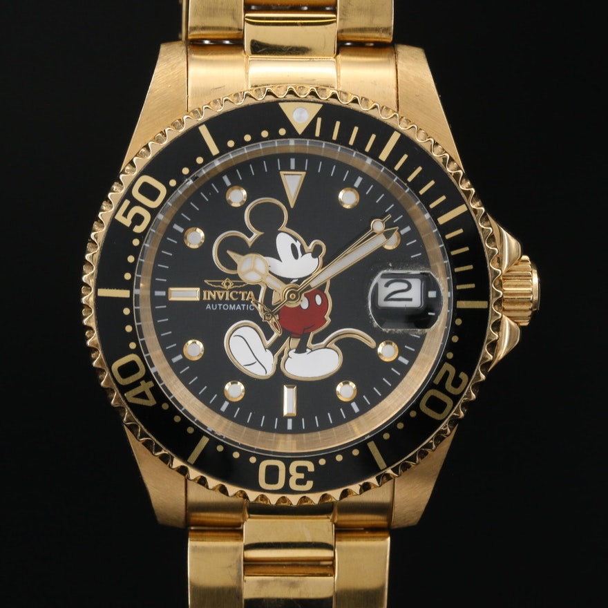 Limited Edition Invicta Mickey Mouse Stainless Steel Automatic Wristwatch