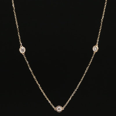 14K 1.00 CTW Diamond Station Necklace