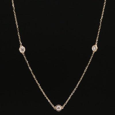 14K 1.00 CTW Diamond Station Necklace