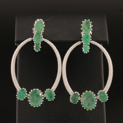 Sterling Silver Emerald Door Knocker Earrings