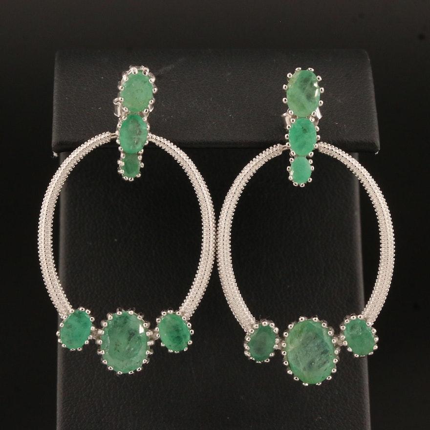 Sterling Silver Emerald Door Knocker Earrings