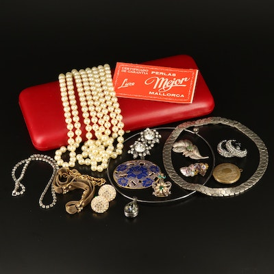 Collection of Jewelry Featuring Coro Crown Pin and Swarovski Clip-On Earrings