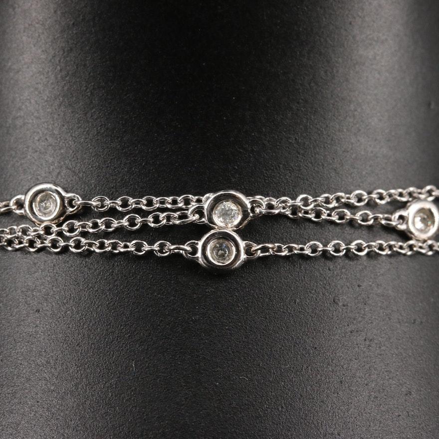 14K Diamond Triple Strand Station Bracelet