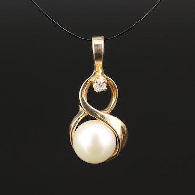 14K Pearl and Diamond Pendant