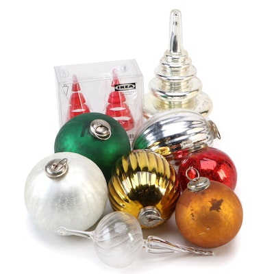 Mercury, Crackle, and Other Glass Ornaments Including IKEA