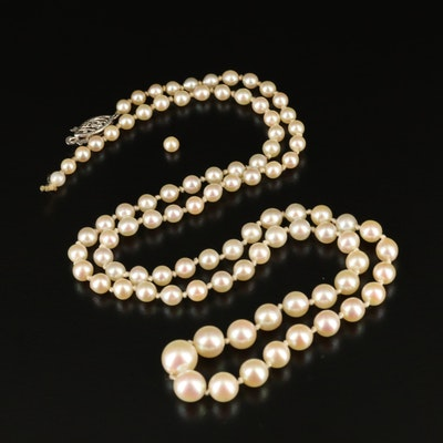 Hand Knotted Pearl Graduated Strand Necklace with 14K Clasp