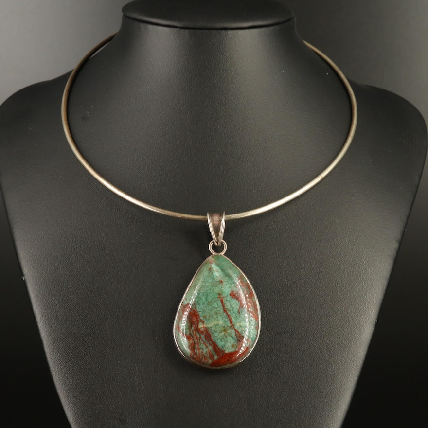 Sterling Silver Agate Pendant Necklace