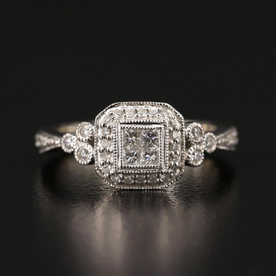 14K Diamond Ring with Milgrain Detailing