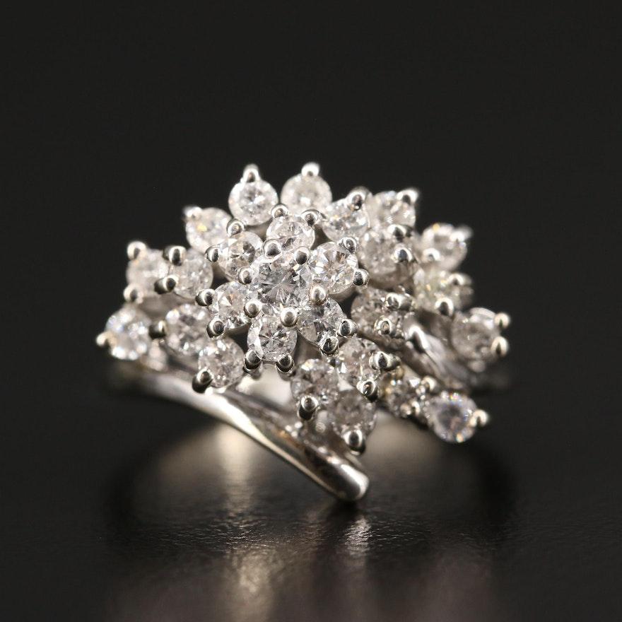 14K 1.00 CTW Diamond Cluster Ring