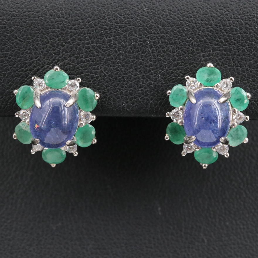 Sterling Tanzanite, Emerald and Cubic Zirconia Earrings