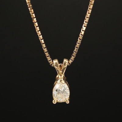 14K Pear Shaped Diamond Pendant Necklace