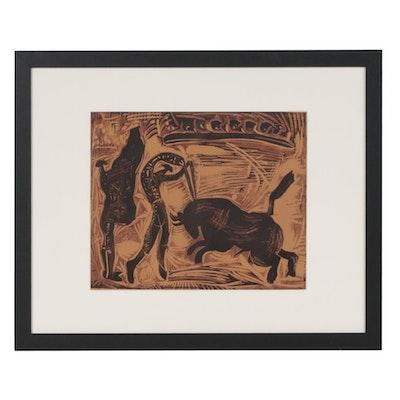 "Pablo Picasso Linoleum Cut ""The Banderillas"", 1962"