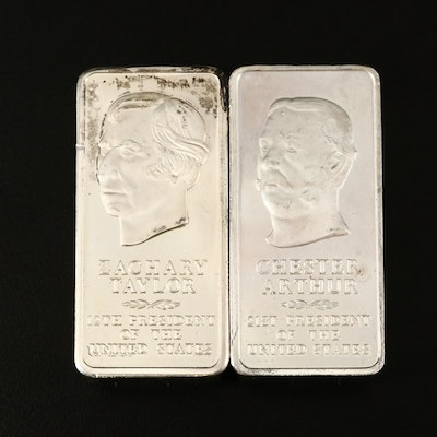 Sterling Silver First Edition Taylor and Arthur Presidential Ingots