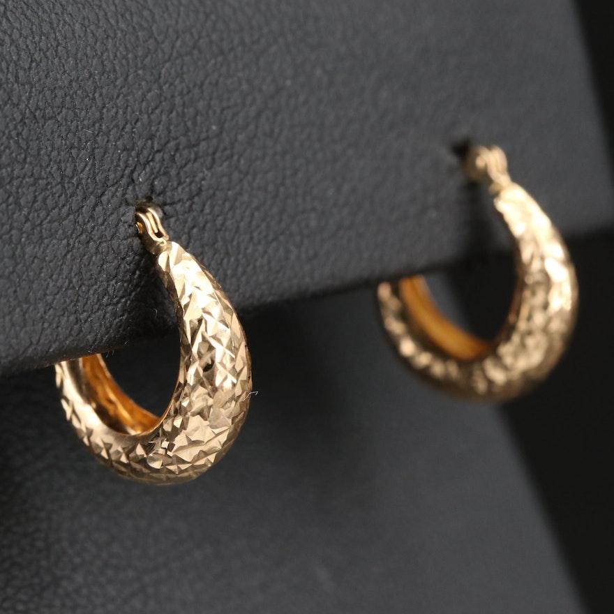 14K Patterned Huggie Hoop Earrings