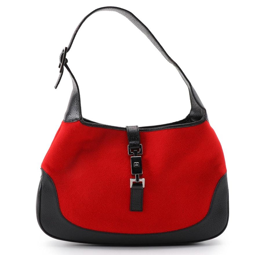 Gucci Jackie Red Felt and Black Leather Handbag