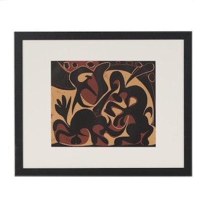"""Pablo Picasso Linoleum Cut """"Picador Goading Bull with Matador"""", 1962"""
