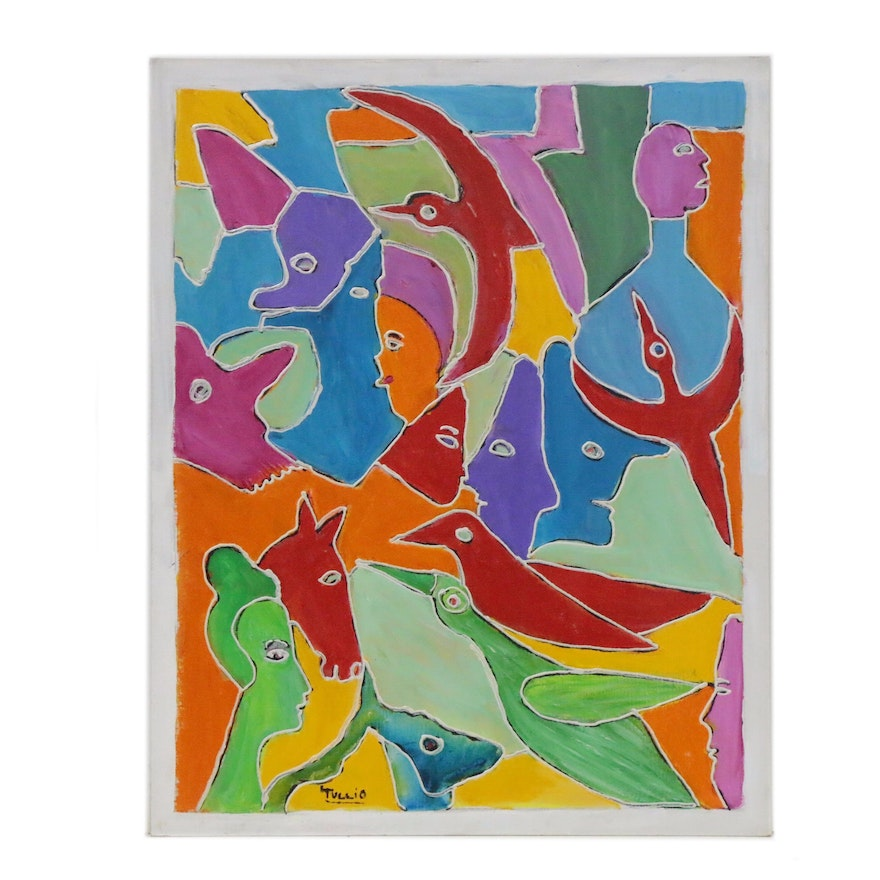 Charles Tullio Abstract Acrylic Painting of Animals and Figures