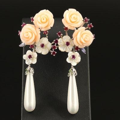 Sterling Garnet and Tanzanite Floral Earrings