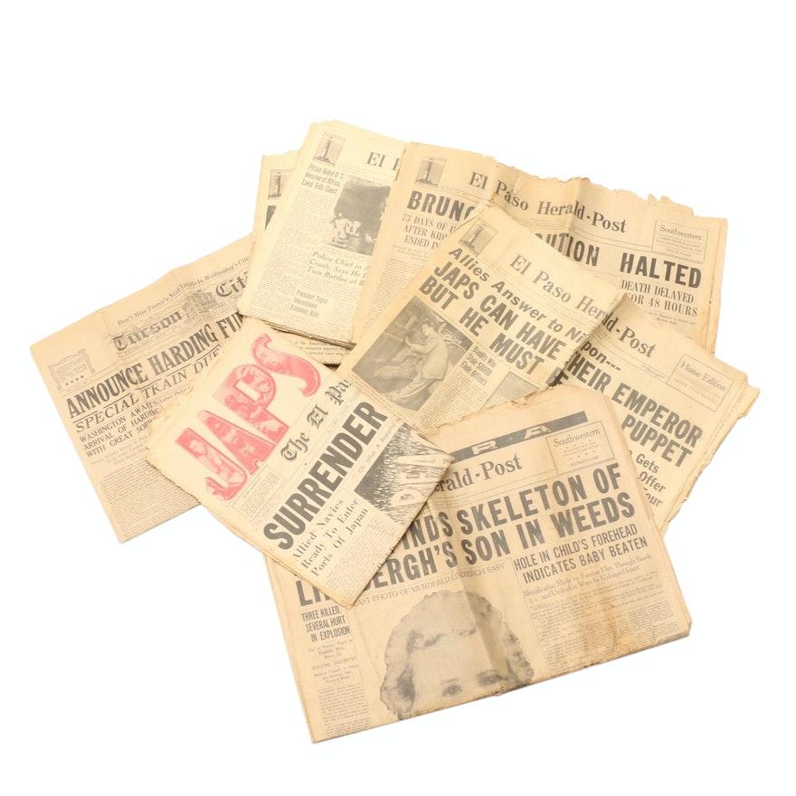 World War II and Historical Events Headline U.S. Newspapers, Mid-20th C.