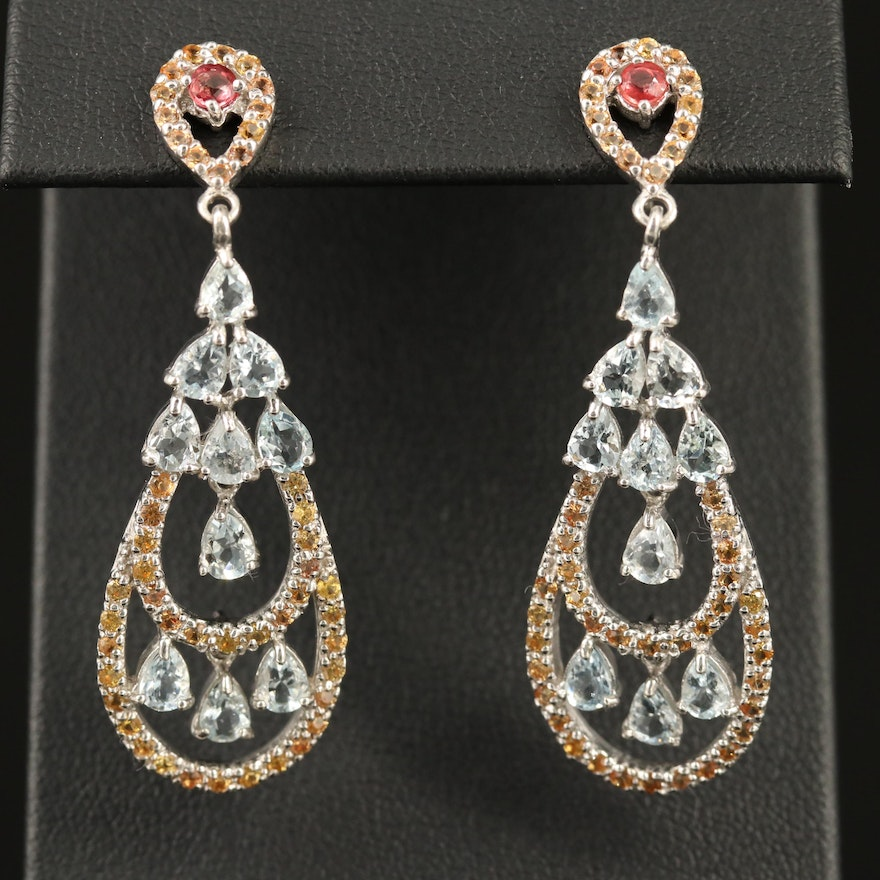 Sterling Drop Earrings with Aquamarine, Ruby and Sapphire