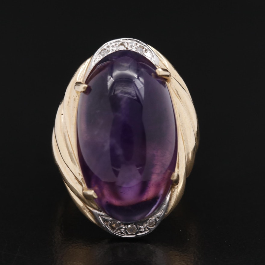 14K 14.60 CT Oval Amethyst and Diamond Ring