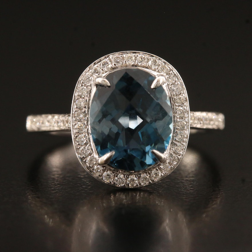 14K London Blue Topaz and Diamond Halo Ring