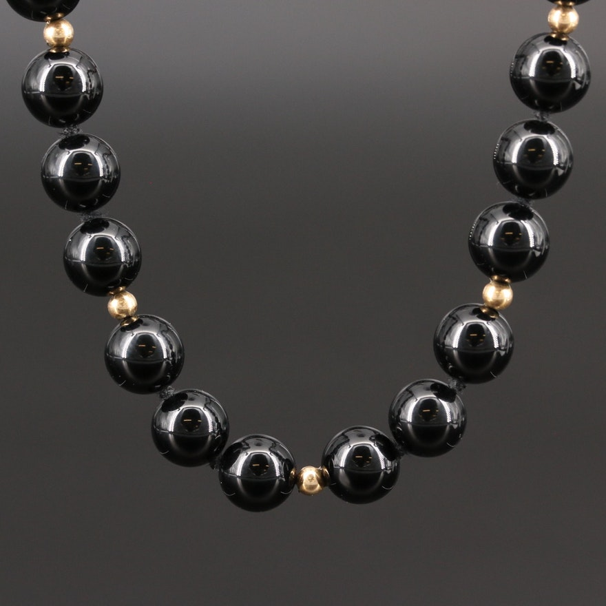 Black Onyx and Cloisonné Bead Necklace with 14K Spacer Beads