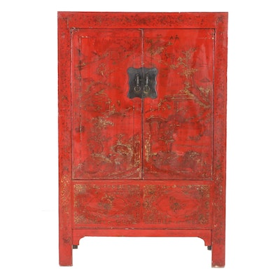 Chinese Gilt Decorated Red and Black Lacquered Wedding Cabinet, 19th Century