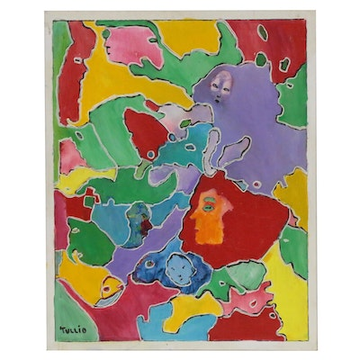 Charles Tullio Abstract Acrylic Painting with Faces, Late 20th Century
