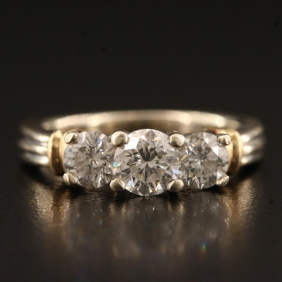 14K 1.49 CTW Diamond Three Stone Ring