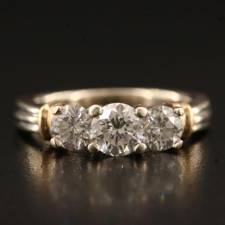 14K 1.49 CTW Diamond Three Stone Ring