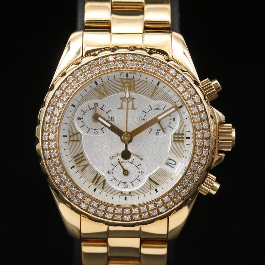 Diamond Techno Mania Chronograph Stainless Steel Wristwatch