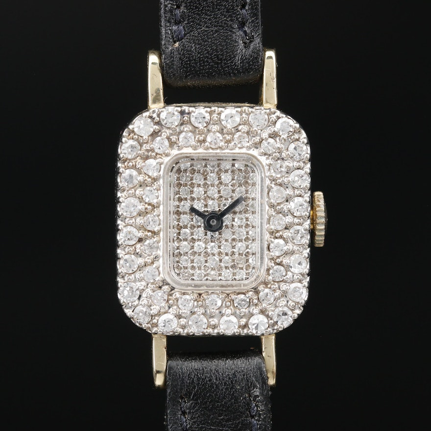 14K and Diamonds Croton Stem Wind Wristwatch