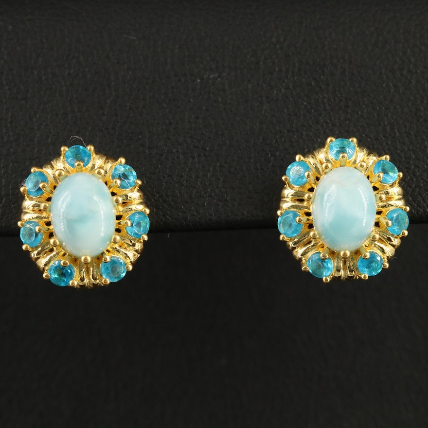 Sterling Silver Larimar and Apatite Button Earrings
