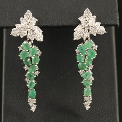 Emerald and Cubic Zirconia Grape Cluster Earrings in Sterling