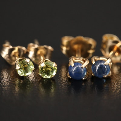 14K Stud Earrings with Sapphire and Peridot