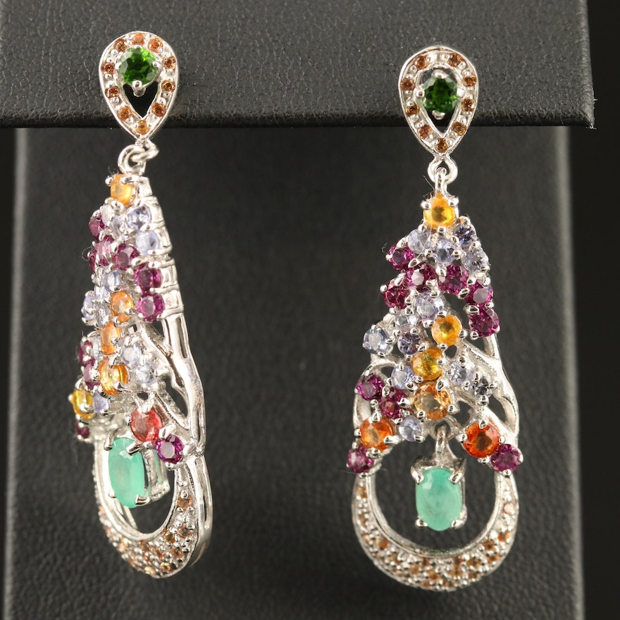 Sterling Silver Garnet and Sapphire Dangle Earrings with Articulating Emeralds