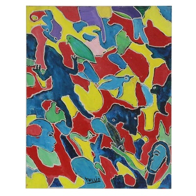 Charles Tullio Abstract Acrylic Painting of Animals and Faces, Late 20th Century