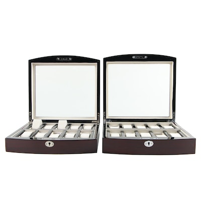 Pair of Wooden Watch Cases with High Gloss Dark Brown Finish