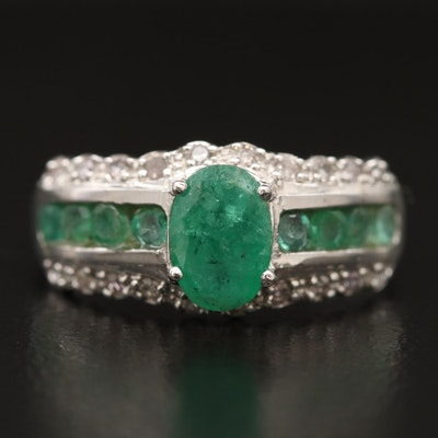 14K Emerald and Diamond Ring with Channel Shoulders