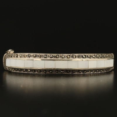 Sterling Silver Mother Of Pearl Inlay Hinged Bangle with Marcasite Accents