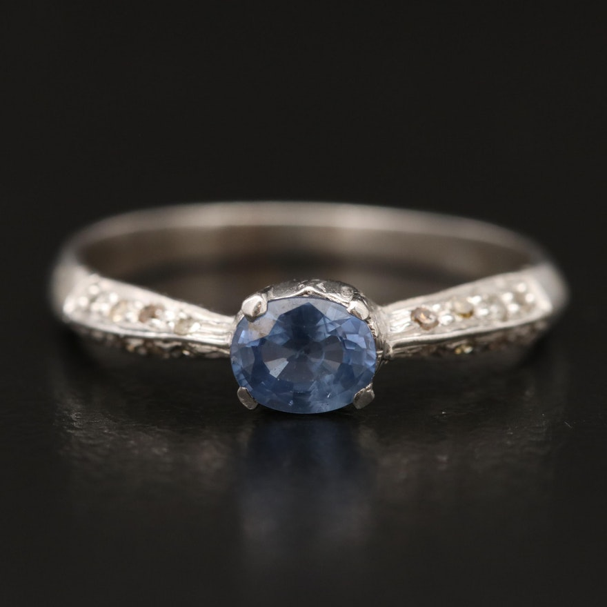 Sterling Silver Sapphire and Diamond Ring