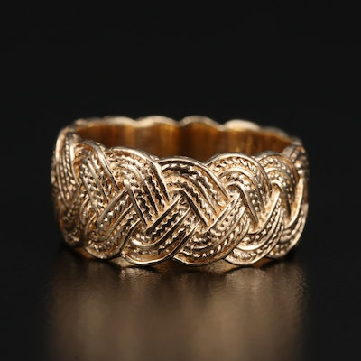 14K Band with Woven Motif