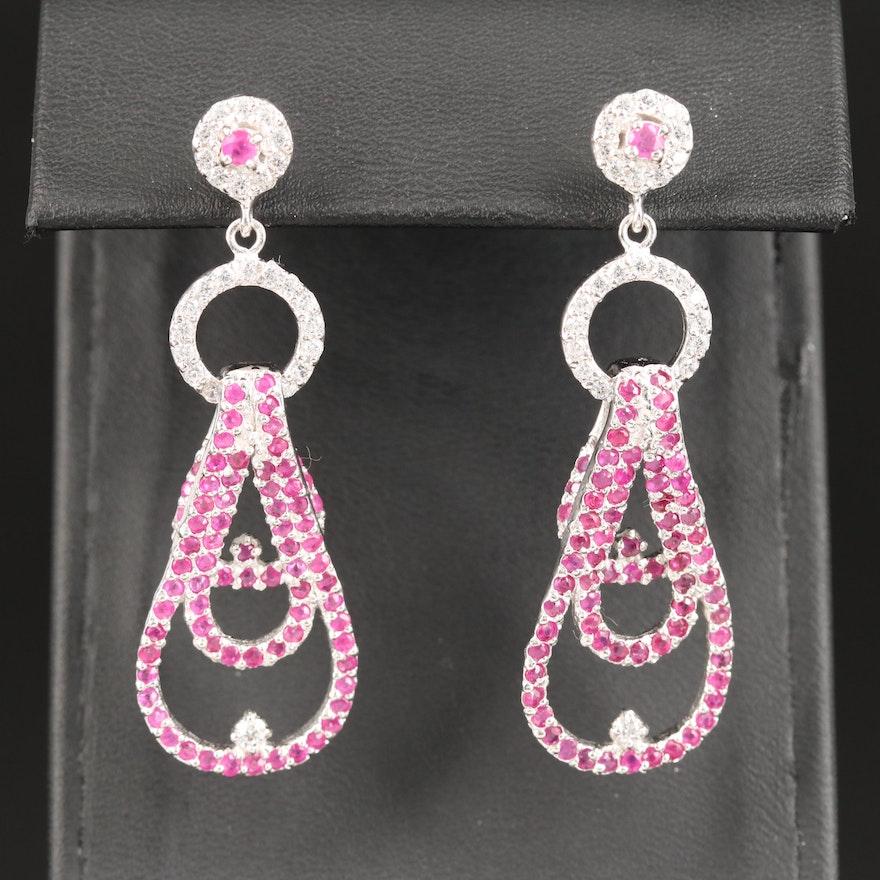 Sterling Ruby and Cubic Zirconia Teardrop Dangle Earrings