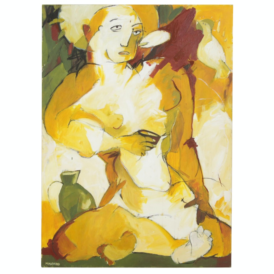 Michael Manning Abstract Oil Painting of Figure with Dove and Jug
