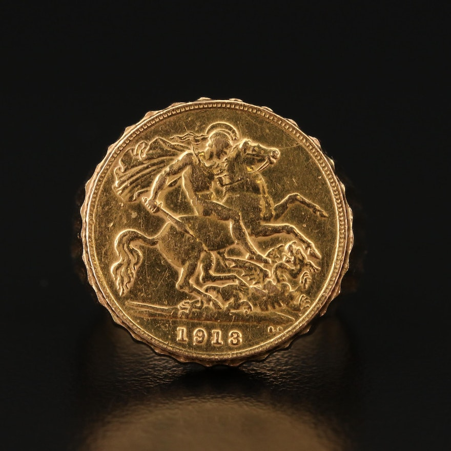 18K Fluted Ring with 1913 British Gold Half-Sovereign Coin