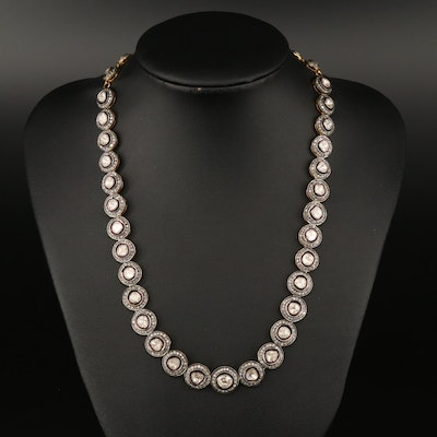 Sterling 13.33 CTW Polki and Single Cut Diamond Necklace