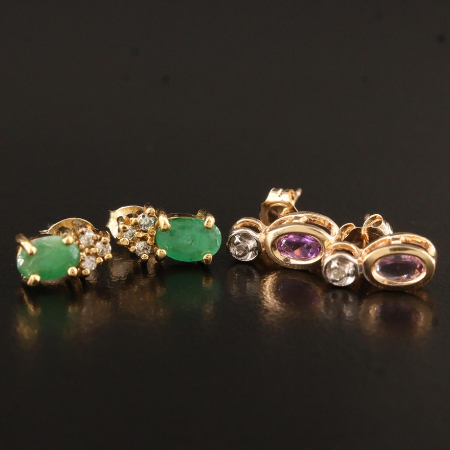 10K Amethyst and Diamond Earrings with Sterling Emerald Earrings