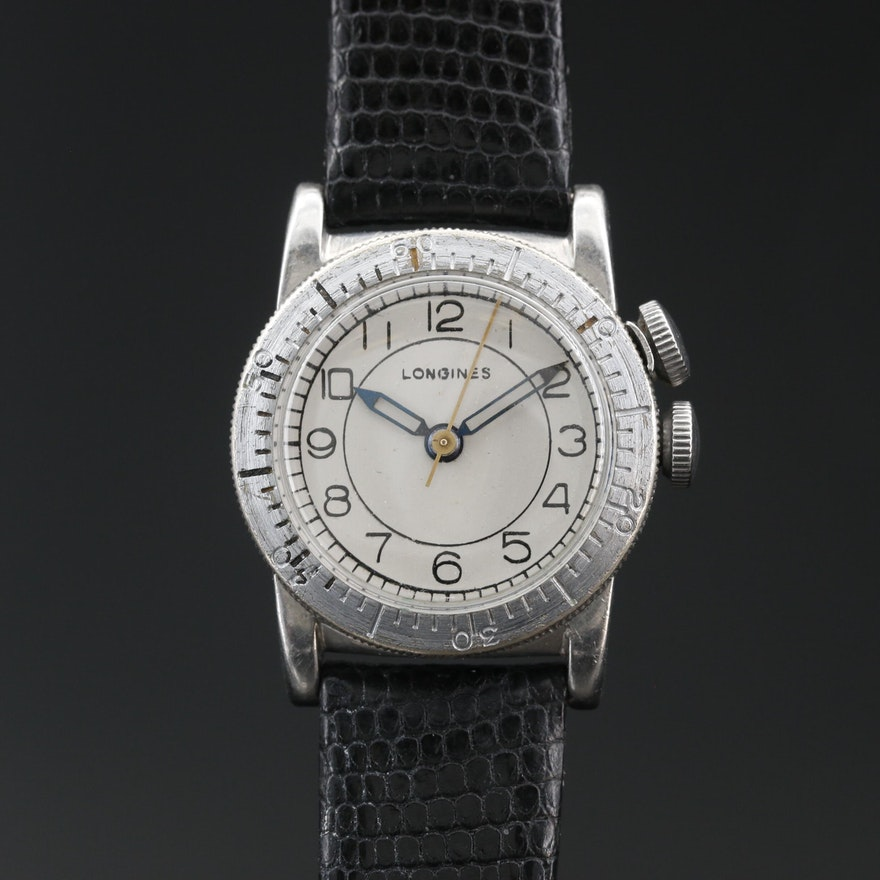 "1943 Longines ""Weems Second-Setting"" Military Stem Wind Wristwatch"